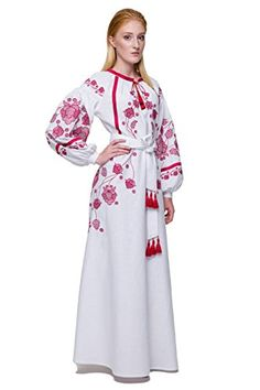 98a51e45c02 Embroidered Long White Woman Dress Vyshyvanka Ukrainian Boho Style Dress  Red embroidery Best girls wedding dresses ML    Amazon most trusted  e-retailer   ...