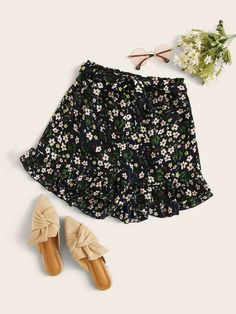 ((Affiliate Link)) Description Style:	Boho Color:	Multicolor Pattern Type:	Ditsy Floral Details:	Belted, Ruffle Hem Type:	Wide Leg Season:	Summer Composition:	12% Cotton, 88% Polyester Material:	Polyester Fabric:	Non-stretch Sheer:	No Fit Type:	Regular Waist Type:	High Waist Closure Type:	Elastic Waist Belt:	Yes
