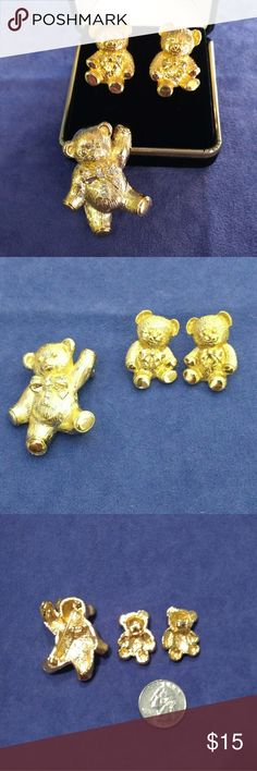 🐻 Cuddly Teddy Bear Set w/ Earrings & Brooch Cuddly Teddy Bear Set with Earrings & Brooch. Teddy Brooch adorned with Crystal Rhinestones and has a hook for a chain so its also a Pendant. Earrings have impeccable detail of fur. Both in Excellent Vintage Condition. Avon Vtg Jewelry. May be purchased separately. Vintage Jewelry