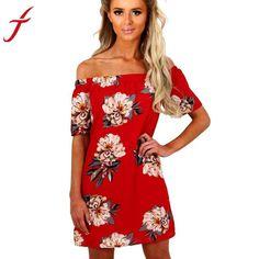 Sexy Off Shoulder Summer Dress Women 2017 Red Flower Printing Sleeveless Evening Party Casual Short Sleeve Mini Dress vestidos