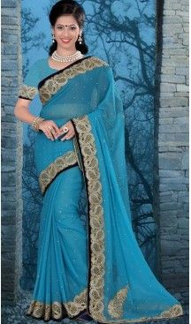 Traditional Style Designer Saree in Chiffon Shimmer Sky Blue Color   FH516078491 #party , #wear, #saree, #saris, #indian, #festive, #fashion, #online, #shopping, #designer, #usa, #henna, #boutique, #heenastyle, #style, #traditional, #wedding, #bridel, #casual, @heenastyle , #blouse, #prestiched, #readymade, #stitched , #Georgette , #embroidery