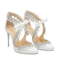 29bf80db4 Shop Aquazzura White FABRIC Stella Jewel pumps for Women at Level Shoes in  Dubai mall or Buy Online and Pay Cash on delivery in UAE