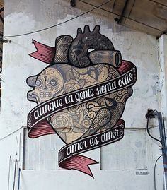 Amor es Amor, graffiti by the street art group Boa Mistura