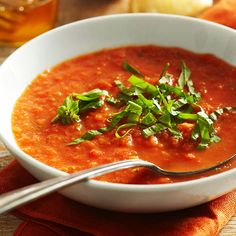 Fresh Tomato Soup {use Greek yogurt in place of cream for healthier version}