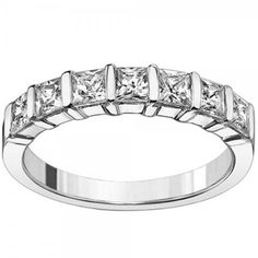 1.40 CT TW Channel Bars 7-Stone Princess Cut Diamond Wedding Ring in Platinum for only $2,799.00 You save: $5,598.00 (67%)