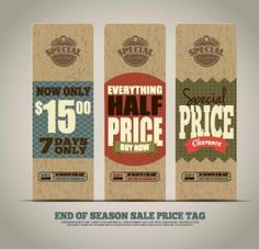 End of season sales price tags vector