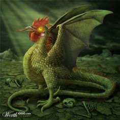 """The basilisk is alleged to be hatched by a cockerel from the egg of a serpent or toad (the reverse of the cockatrice, which was hatched from a cockerel's ""egg"" incubated by a serpent or toad). In Medieval Europe, the description of the creature began taking on features from cockerels.""- Wikipedia http://en.wikipedia.org/wiki/Basilisk"
