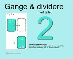 """Smart Notebook-lektion fra www.skolestuen.dk - """"Gange og dividere med tallet 2"""" - Træn de små tabeller - Løs regnestykket mundtligt og tjek dit svar ved at flytte talbrikkerne mod højre ind i de stiplede rammer."""
