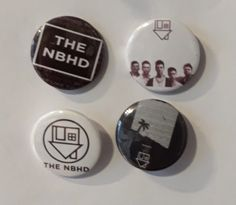 Set of 4 Button Badges. Size: 25 cm (1 inch). Button Badge, Badges, The Neighbourhood, Buttons, Badge, The Neighborhood, Knots, Lapel Pins, Plugs