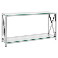 Hayward Console Table Chrome Finished Stainless Steel With X Shaped Sides
