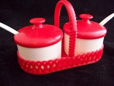 retro vintage 50's red and white condiment tray set by intimespast, $9.00