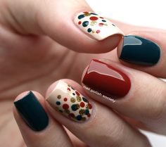 Autumn Dotticure With Barry M Polishes Chic Nails, Classy Nails, Fancy Nails, Pretty Nails, Simple Gel Nails, Summer Gel Nails, Nail Color Combinations, Sunflower Nail Art, Cute Nail Colors
