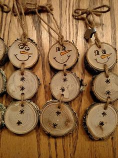 discount gif Wood Burned Snowman Christmas Ornaments -- Stacked Snowman Ornaments/Gift Tags with natural moss - Wooden Christmas Decorations, Snowman Christmas Ornaments, Christmas Ornament Crafts, Wood Ornaments, Xmas Crafts, Diy Christmas Gifts, Rustic Christmas, Christmas Projects, Diy Snowman