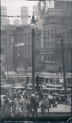 Street scene, looking north west at the corner of State and Monroe, 1927, Chicago.