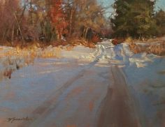 Barbara Jaenicke, A Little Farther to Go, oil, 11 x - Southwest Art Magazine Winter Landscape, Landscape Art, Landscape Paintings, Landscapes, Acrylic Paintings, Painting Snow, Winter Painting, Painted Christmas Cards, Places Worth Visiting