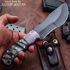 ALONZO KNIVES USA CUSTOM HANDMADE BUSHCRAFT TRACKER 1095 KNIFE RAM HORN 655 #AlonzoKnives