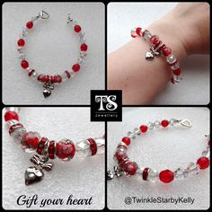 Are you planning to gift your #heart to someone special? This one of a kind bracelet is created with #Swarovski crystals, Chinese crystals and has a rose bead centre piece with a heart bow charm. To fit 7-8 inch wrist.