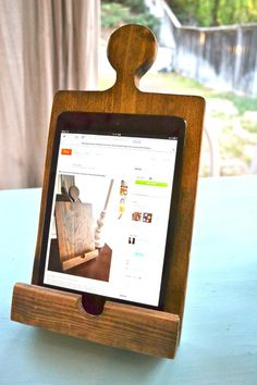Monogrammed Wooden Kitchen iPad Mini/Kindle Stand