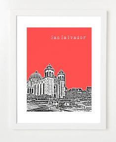 San Salvador El Salvador Poster  City Skyline by BugsyAndSprite, $20.00
