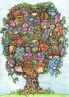 Almost 60 Owls print on paper by GlitterTramp on Etsy