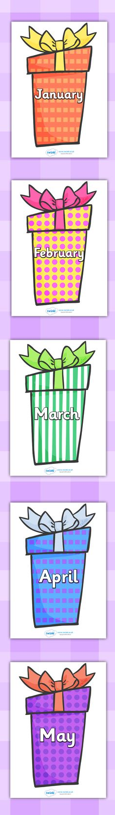 Twinkl Resources >> Months of the Year on Birthday Presents >> Printable resources for Primary, EYFS, KS1 and SEN. Thousands of classroom displays and teaching aids! Classroom Signs, Months, Birthdays