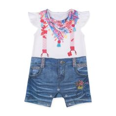 This item starts shipping in May Made from skin-friendly organic cotton Comfortable clothing, no irritating tags or seams For babies in sizes: months mo… Denim Romper, Printed Denim, Suspenders, Digital Prints, Shawl, Girl Outfits, Rompers, 3d, Pattern