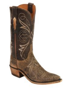 Lucchese 1883 Bark Leather Lizard  Cowgirl Boots - Snip Toe