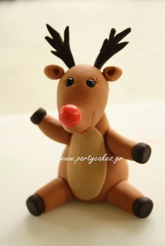 An utterly adorable little Fondant Reindeer. #food #fondant #cake #decorating #Christmas #reindeer #cute