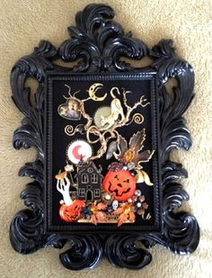 vintage rhinestone jewelry framed halloween pin tree art cat pumpkin owl