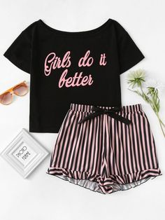 85d8dd8df7 Letter Print Top   Striped Shorts Pajama Set - Jennifer s Closet. Pajama  OutfitsPajama ShortsCute PjsCute PajamasLingerie ...