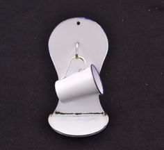 Antique Porcelain Enamel Enamelware Cup & Wall Hanging Soap Holder w Hook - Shabby Decor Farm Cabin - White with Blue Trim - Bathroom Decor