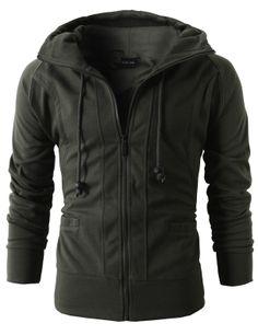 Doublju Mens Casual Fashion Active Jersey Slim Fit Hoodie Zip-Up (KMOHOL019) #doublju