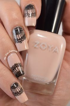 Black and nude nail art nail stamping.  Zoya April, China Glaze Liquid Leather, Moyou Bridal Collection Plate 07 and Julep Estelle.