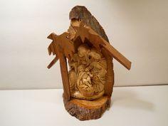 "Vintage Bethlehem Olive Wood Nativity, 5 1/2"" Wood Nativity, Christmas Decor by PiccoloPattys on Etsy"