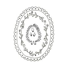 Embroidery pattern of a cute little spiky backed hedgehog, in a viney / wreath / laurel scalloped frame.  This is a digital file to be downloaded to your computer and printed. No waiting for the mailman! After your payment successfully processes, you will receive an automatic email notification letting you know the file is ready on your Downloads page on the Etsy website.  This pattern has instructions for transferring the pattern onto your fabric. There are no color recommendations...