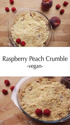 Easy vegan raspberry peach crumble! Super quick to make