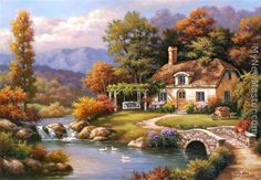 sung kim paintings | Sung Kim - Sung Kim Cottage Stream Painting & frame