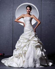 Spitze Dom Elastischer Satin Mitte Rücken Langes Brautkleid aus Satin - Bild 1