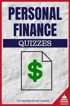 Personal Finance Digital Quizzes - Not Another History Teacher Economics Lessons, Social Studies Resources, Grades, Best Money Saving Tips, History Teachers, Teacher Blogs, Financial Literacy, Budgeting Tips, Quizzes