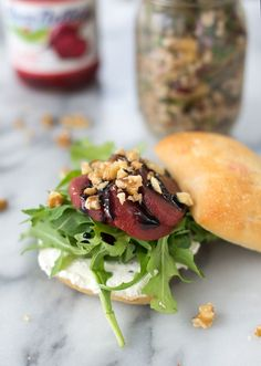 Picnic time! Beet, Arugula and Walnut Sandwich with a Three Bean Farro ...