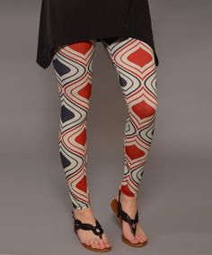 Look at this Red & Beige Spade Leggings - Women on #zulily today!