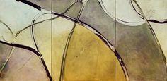Núria Rossell, acrílic on canvas (Behind the words, tríptic)