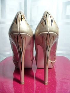 VLV Pinstriped Heels Rockabilly Champagne Patent by VintiqueVixen, $85.00