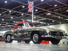 This pic shows David Gandy's Mercedes Benz #190SL from #londonclassiccarshow2016 (March 2016) with the Union Jack. Pic credit: davidgandy_official (instagram). For all your Mercedes Benz 190SL restoration needs please visit us at http://www.bruceadams190sl.com #BruceAdams190SL