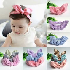 kids Girls Bow Hairband Turban Knot Rabbit Ear Headband Cotton Headwear S1 #Affiliate