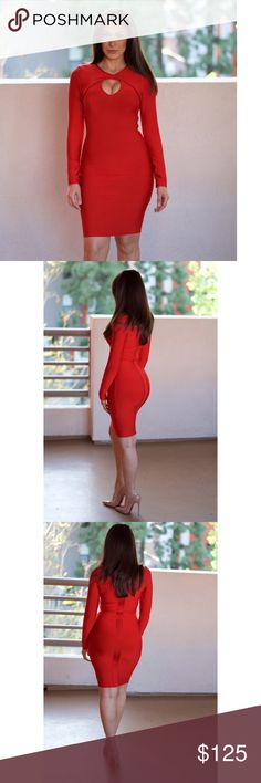 Red Long Sleeve Cutout Bandage Dress #756 Made from the best quality bandage material.  Material: 90% rayon, 9% nylon, 1% spandex Dry Clean Only  Price is firm unless bundled Rumor Apparel Dresses Midi