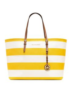 Medium Jet Set Striped Travel Tote by MICHAEL Michael Kors at Neiman Marcus.