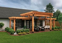 The pergola kits are the easiest and quickest way to build a garden pergola. There are lots of do it yourself pergola kits available to you so that anyone could easily put them together to construct a new structure at their backyard. Pergola Canopy, Outdoor Pergola, Wooden Pergola, Backyard Pergola, Backyard Landscaping, Outdoor Spaces, Pergola Lighting, Cheap Pergola, Corner Pergola
