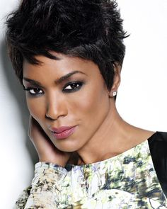 Angela Bassett - Beautiful African-American celebrity female actress facial portrait black woman photo #headshot #shorthair T: ImAngelaBassett