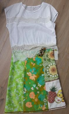 "Green ""pineapple"" panel skirt"